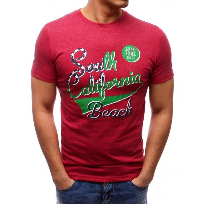 Pánske tričko červenej farby s nápisom
