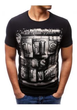 8318bd60f956 Tmavosivé bavlnené tričko s krátkym rukávom pre pánov ...
