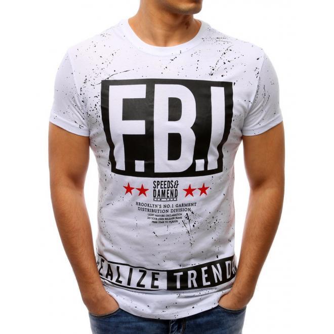 07e45b146018 Pánske štýlové tričko s potlačou v bielej farbe - skvelamoda.sk