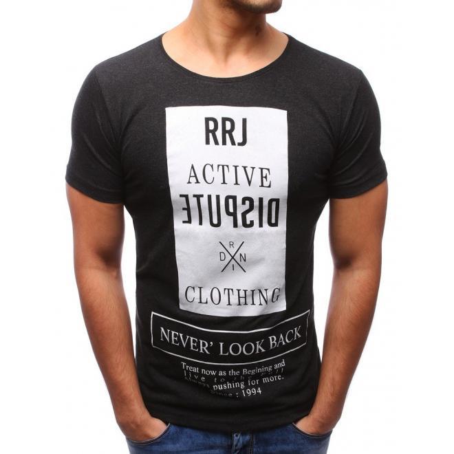 a639e3fd3 Pánske moderné tričko s potlačou v tmavosivej farbe - skvelamoda.sk