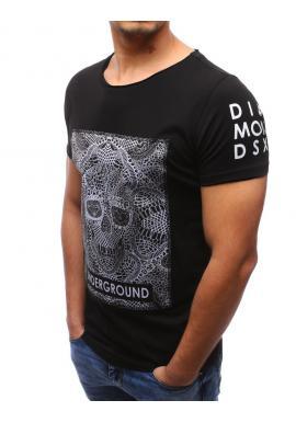 c07ed1508476 ... Pánske bavlnené tričko čiernej farby s lebkou