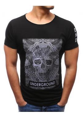 493ba89069cb Pánske bavlnené tričko čiernej farby s lebkou ...