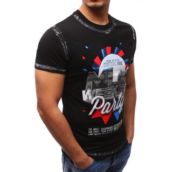 Tmavosivé tričko s nášivkami pre pánov