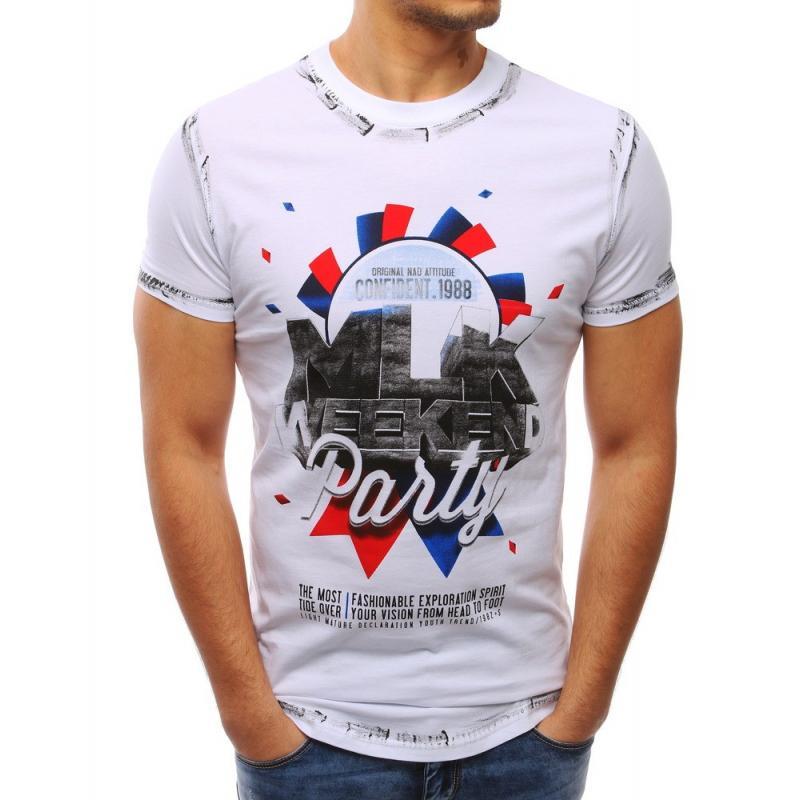 86c8fe453 Biele tričko s potlačou pre pánov - skvelamoda.sk