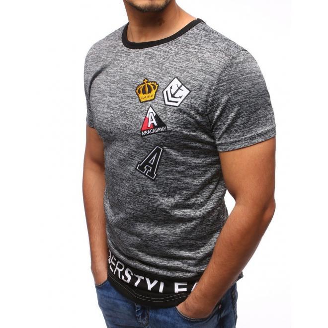 Tričko pre pánov v sivej farbe s nášivkami