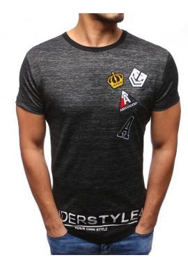 Pánske tričko s nášivkami v sivej farbe