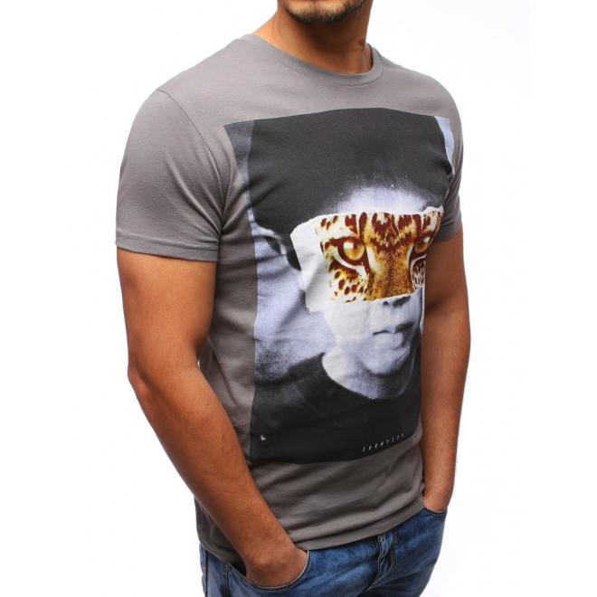 Sivé tričko so štýlovou potlačou pre pánov