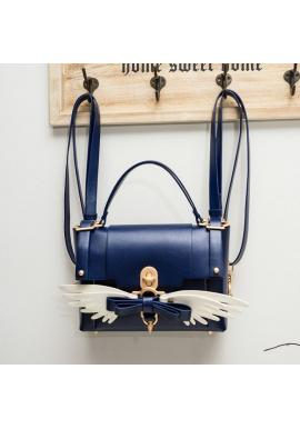 Dámska módna kabelka s krídlami v tmavomodrej farbe
