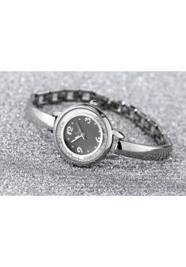 Strieborné elegantné hodinky s bielym ciferníkom pre dámy