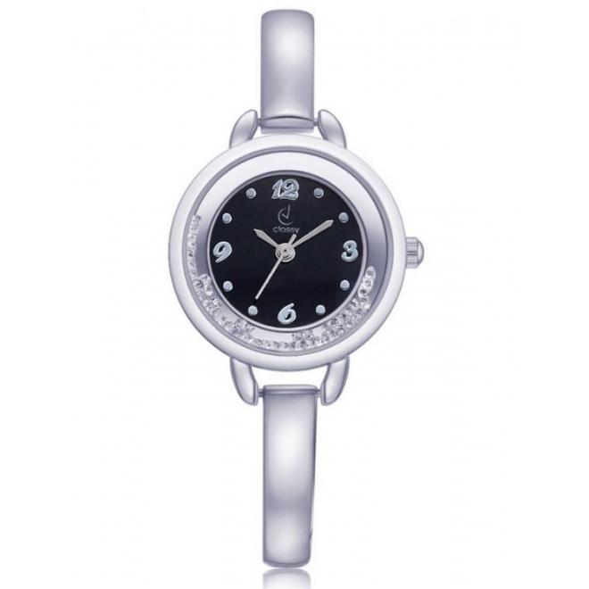 743231a5d Elegantné dámske hodinky striebornej farby s čiernym ciferníkom ...