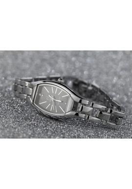 Strieborné elegantné hodinky s čiernym ciferníkom pre dámy