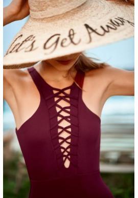 Čierne jednodielne plavky so šnúrkami pre dámy