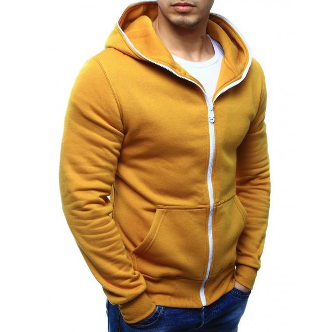 Žltá mikina s  hlbokými vreckami a kontrasnym  bielym zipsom pre pánov