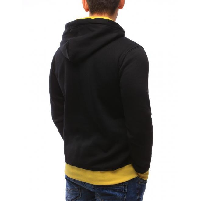 Pánska mikina s klokaním vreckom v čiernej farbe a žltými prvkami