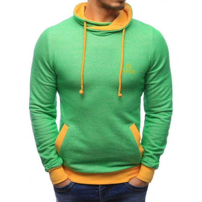 Zeleno žltá mikina pre pánov bez kapucne