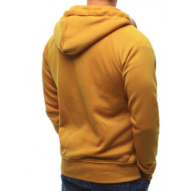 Pánska žltá mikina s vreckom a kontrastný bielym zipsom pre pánov