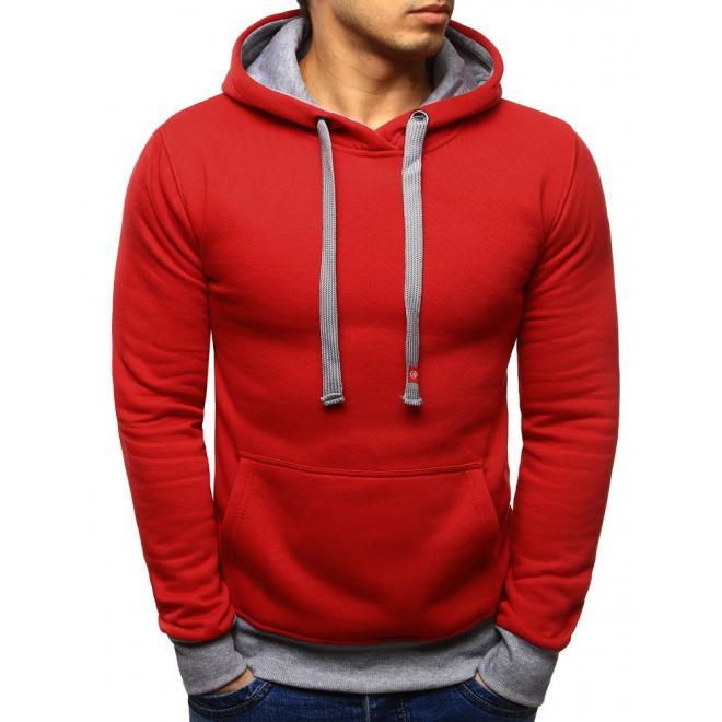 Červená mikina pre pánov s kapucňou a sivými  prvkami