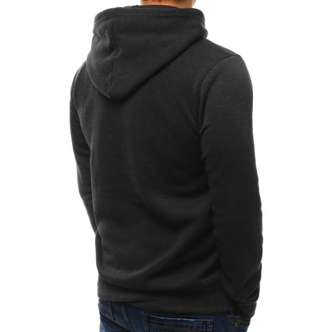 Tmavosivá pánska mikina s potlačou a dvomi vreckami na zips