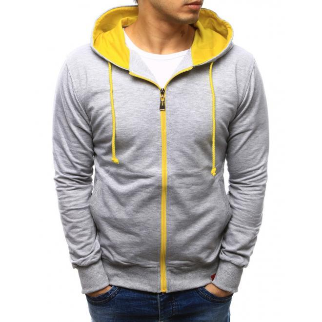 Sivá mikina na zips pre pánou so žltou kapucňou