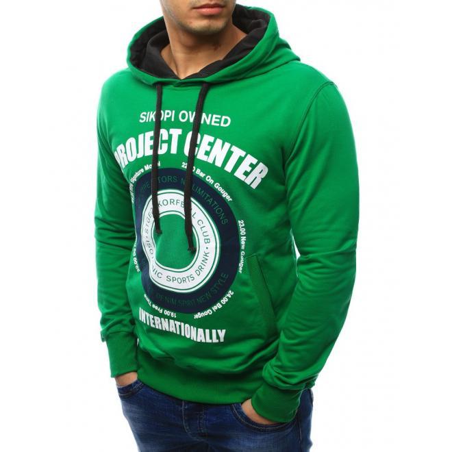 Mikina v zelenej farbe s potlačou a dvomi vreckami