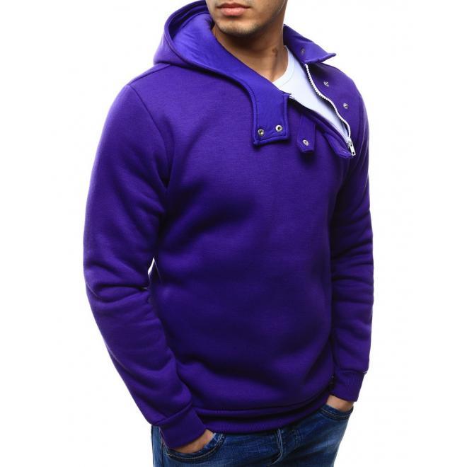 Pánska mikina s kapucňou vo fialovej farbe