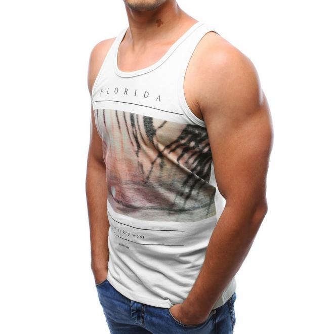 Pánske sivé tričko bez rukávov s potlačou