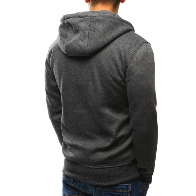 Klasická pánska mikina na zips v tmavomodrej farbe