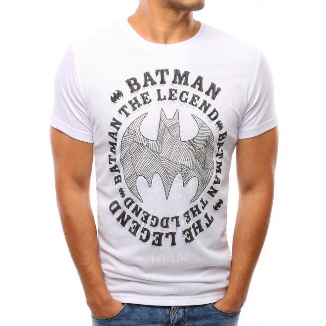 Biele pánske tričko s potlačou a sieťkou vpredu