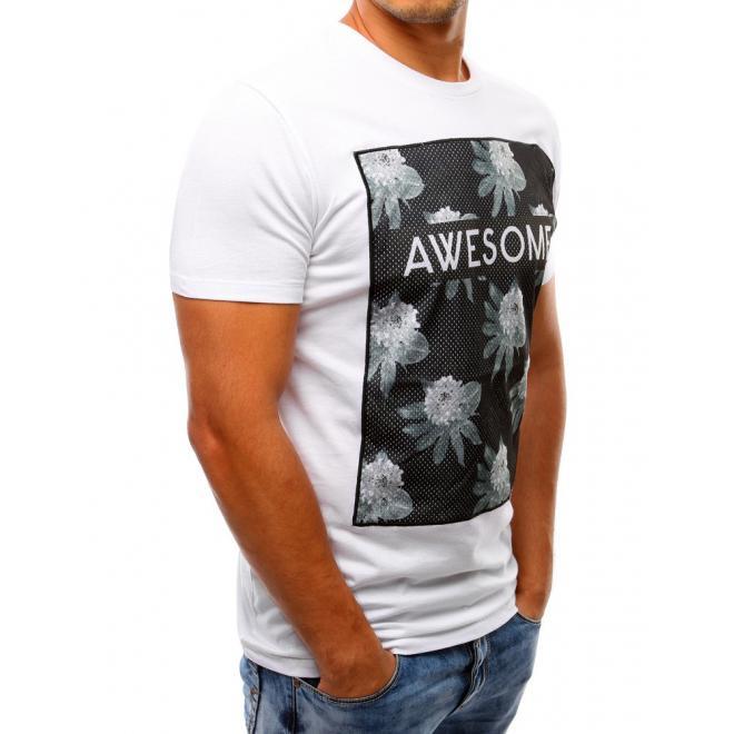 Tričko pre pánov s potlačou v bielej farbe a so sieťkou vpredu