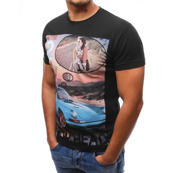 Pánske tričko čiernej farby s retro potlačou