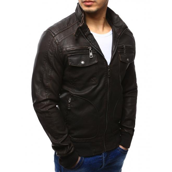 Pánska kožená bunda s aplikáciami na ramenách čiernej farby