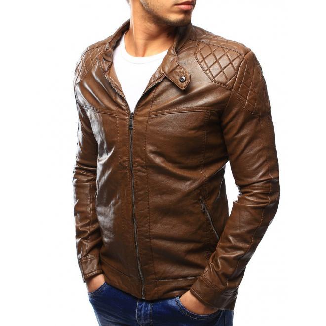 Prešívaná kožená bunda pre pánov v bordovej farbe