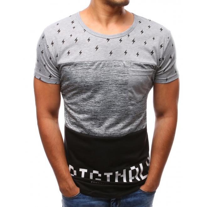 Sivo-biele tričko s potlačou pre pánov
