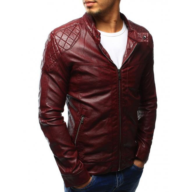 Pánska tmavomodrá kožená bunda so zipsom na rukávoch