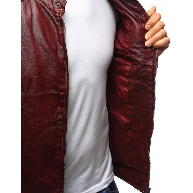 Pánska bordová kožená bunda so zipsom na rukávoch