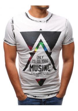 Tričko pre pánov v bielej farbe so štýlovou potlačou