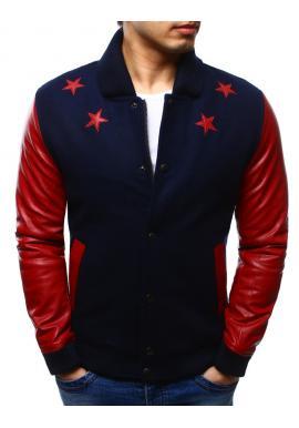 Bejzbalová bunda tmavomodrej farby s červenými rukávmi