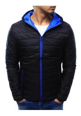 Pánska prechodná bunda s kapucňou v modrej farbe