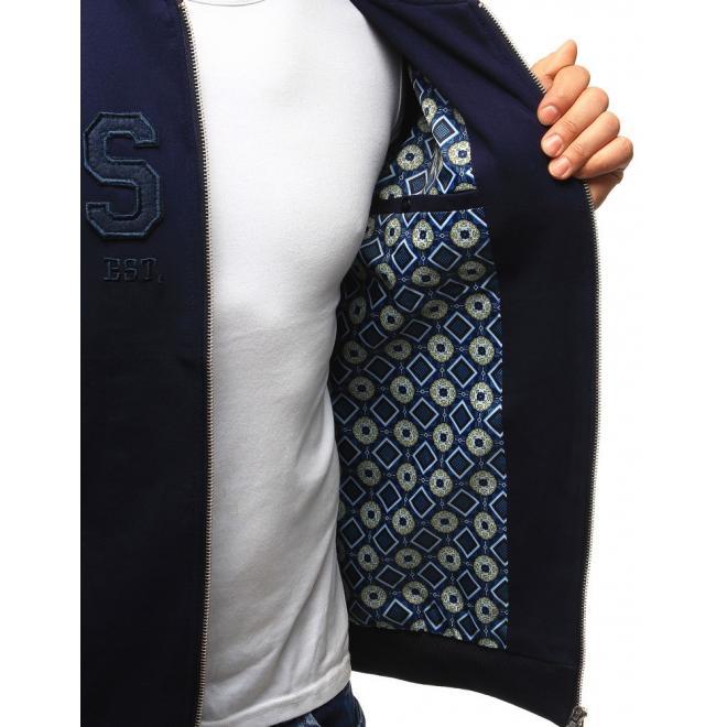 Modrá bejzbalová bunda pre pánov s nápisom