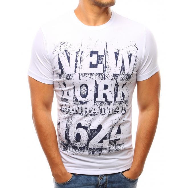 16a06f48c097 Pánske moderné tričko bielej farby s krátkym rukávom - skvelamoda.sk