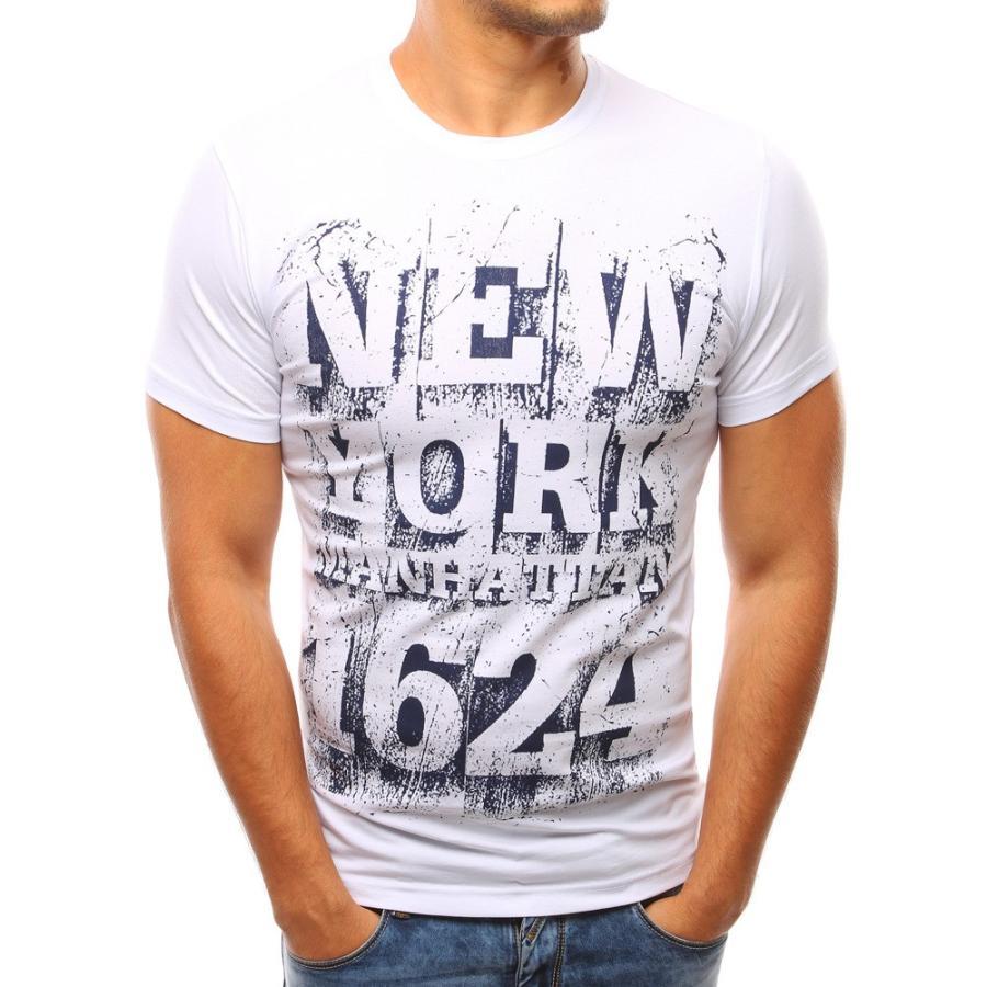 800ea2fdfaf2 Pánske moderné tričko bielej farby s krátkym rukávom. Bavlnené pánske tričko  s potlačou v bielej farbe. Loading zoom