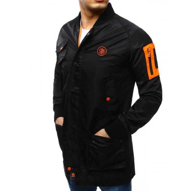 Čierna štýlová bunda Parka s oranžovými prvkami pre pánov