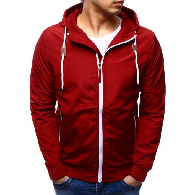 Jarná pánska bunda v červenej farbe s kapucňou