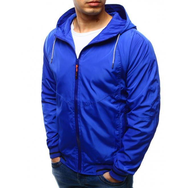 Pánska prechodná bunda s kapucňou v tmavomodrej farbe