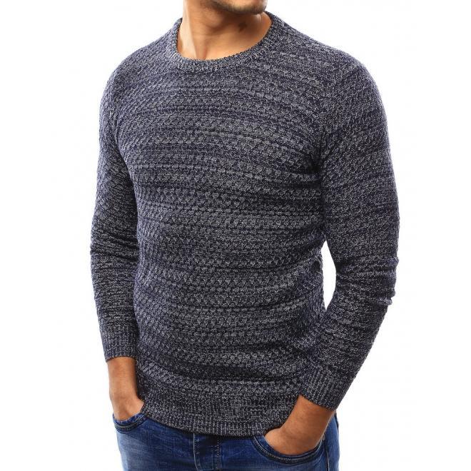 Pánsky sveter s okrúhlym výstrihom v sivej farbe