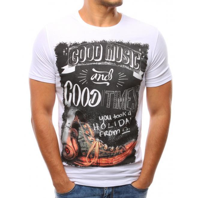 a1ac6486939e Pánske moderné tričko bielej farby s krátkym rukávom - skvelamoda.sk