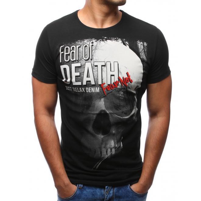 33cd36603 Bavlnené pánske tričko so štýlovou potlačou v čiernej farbe ...