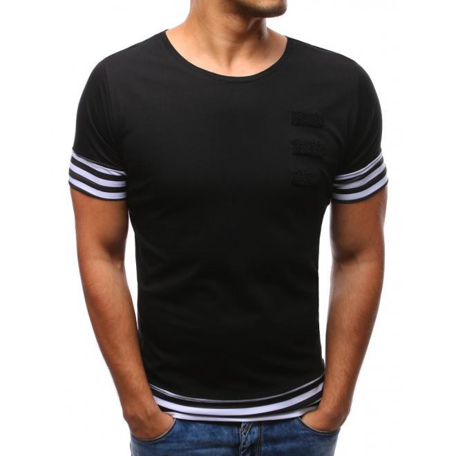 5a117fc38 Moderné pánske tričko s pásikmi v čiernej farbe - skvelamoda.sk