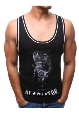 Športové pánske tričko s potlačou v čiernej farbe