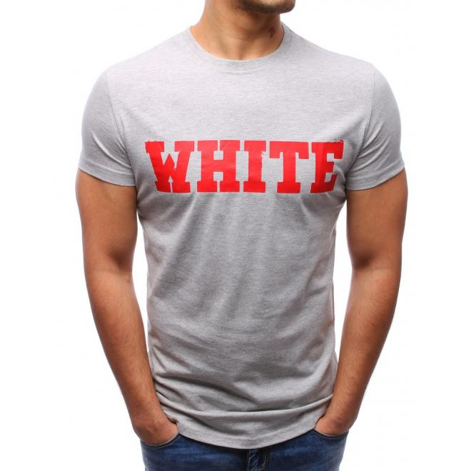 ee49ffeda252 Bavlnené pánske tričko s nápisom v sivej farbe - skvelamoda.sk